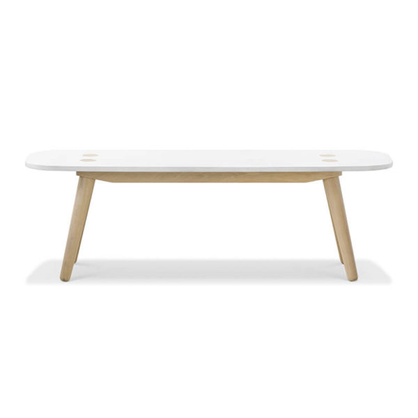 Creto Bench 140 natural solid oak white MDF cement top front 600x600 - Echo Bench - Small