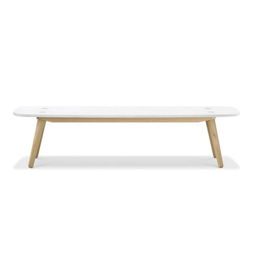Creto Bench 186 natural solid oak white MDF cement top front 500x500 - Echo Bench - Large