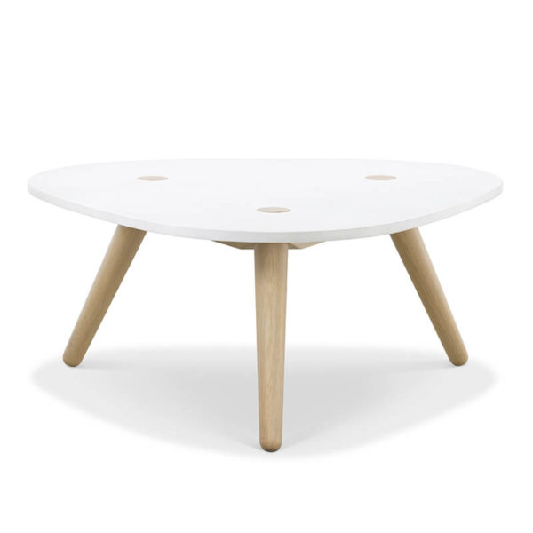 Creto Coffee table natural solid oak white MDF cement top front 600x600 - Echo Coffee Table