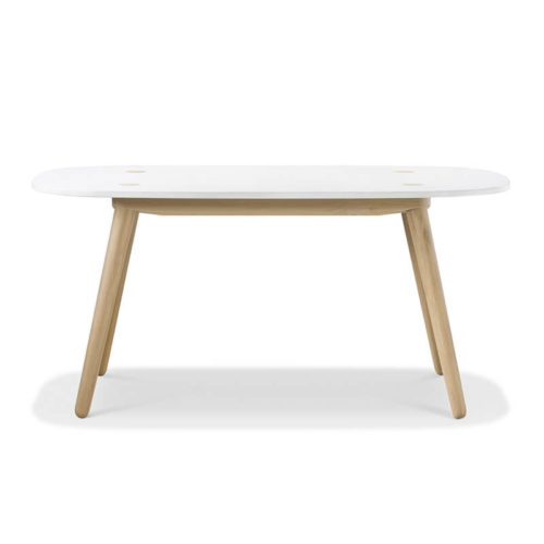 Creto Dining table 160 natural solid oak white MDF cement top front 500x500 - Furniture