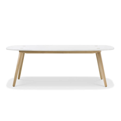 Creto Dining table 220 natural solid oak white MDF cement top front 500x500 - Furniture