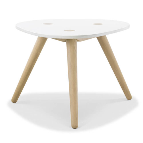 Creto Side table 60cm natural solid oak white MDF cement top front 500x500 - Furniture