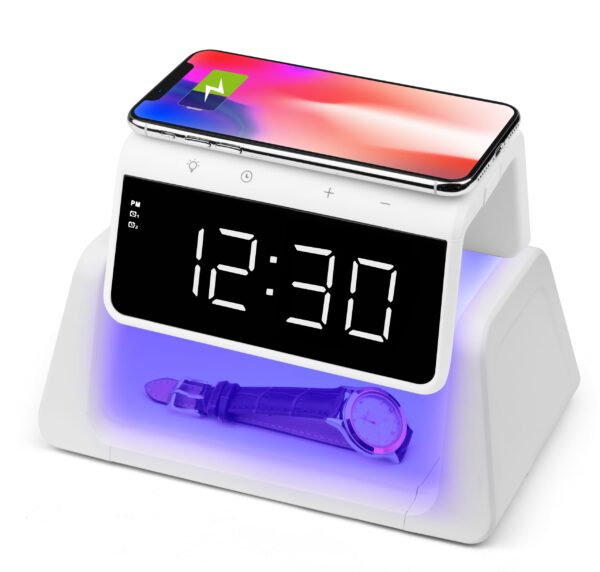 4  72927 scaled 1 600x572 - Rewyre Alarm Clock w/ Wireless Charger & UV Disinfection Lamp